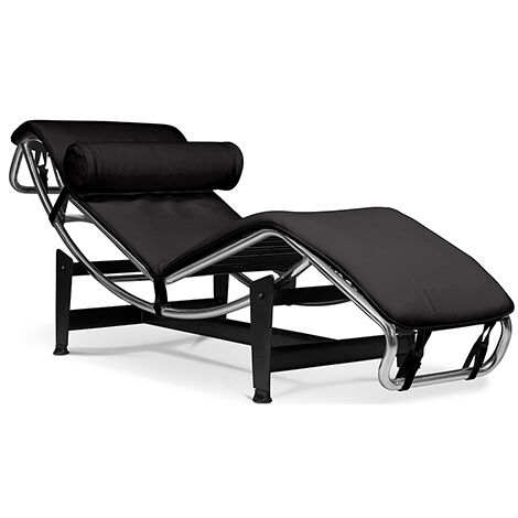 Chaise Longue LC4 Style Le Corbusier Simili Cuir Noir