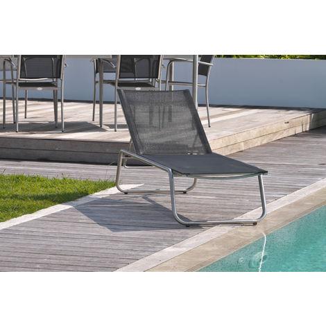 Chaise longue MILANO en textilene noir et inox - GRIS