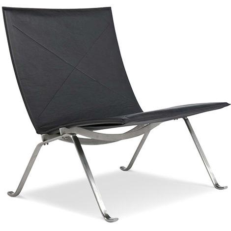Chaise Longue PK22 - Poul Kjaerholm - Cuir Premium Noir