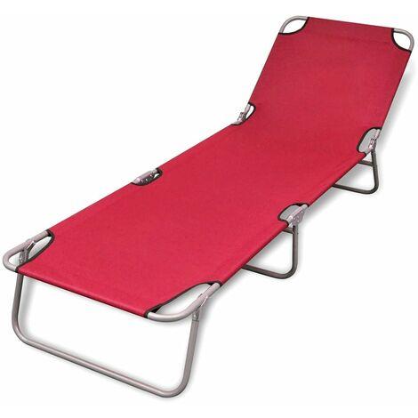 Chaise longue pliable Acier enduit de poudre Rouge