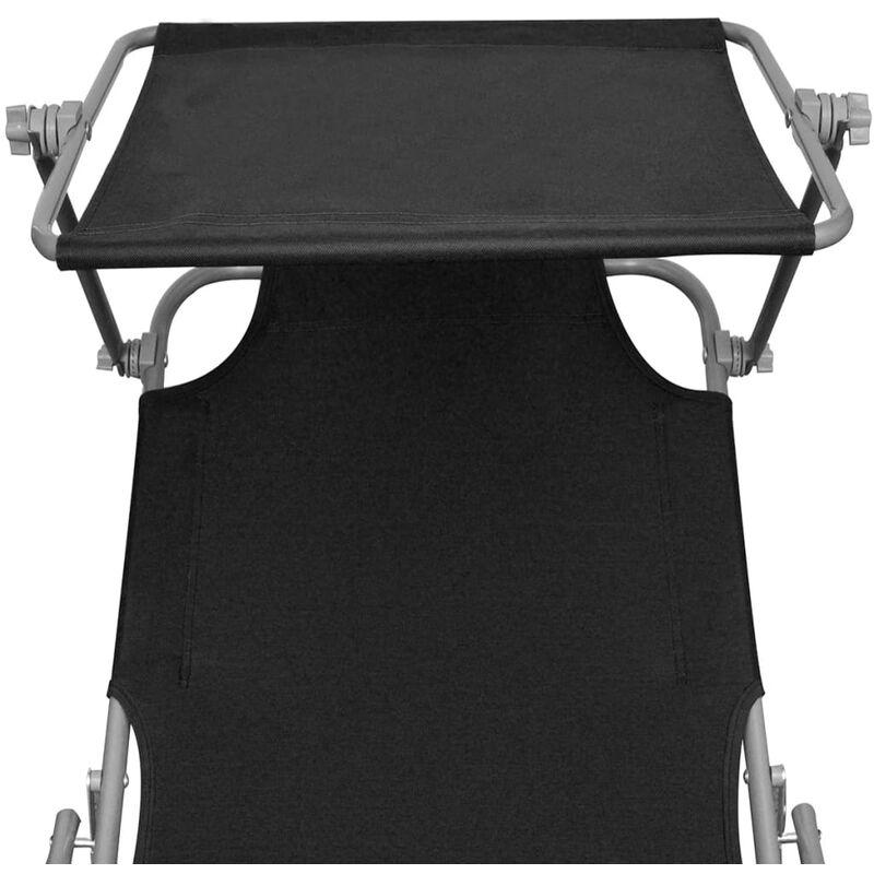 Noir Pliable Auvent Tissu Longue Avec Chaise Et Acier ZTOkXPui