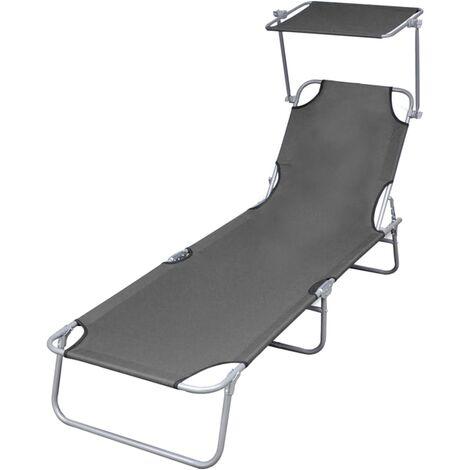 Chaise longue pliable avec auvent Acier Gris