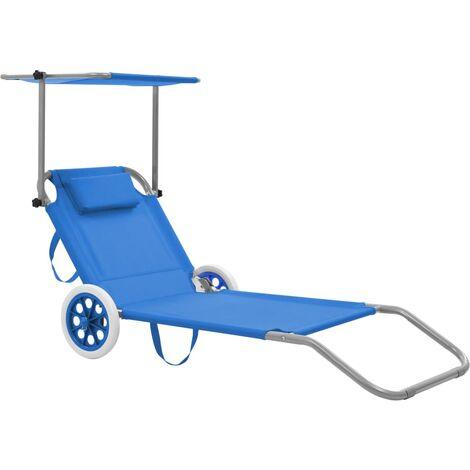 Chaise longue pliable avec auvent et roues Acier Bleu