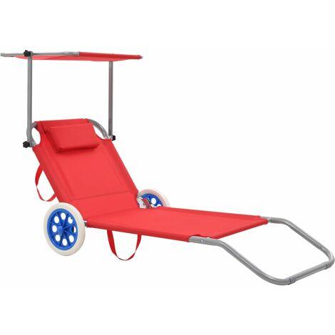 Chaise longue pliable avec auvent et roues Acier Rouge