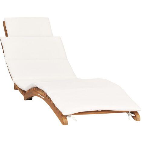 Chaise longue pliable avec coussin blanc crème Bois de teck
