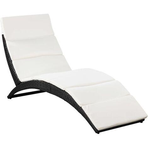 Chaise longue pliable avec coussin Résine tressée Noir