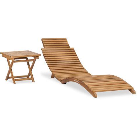 Chaise longue pliable avec table Bois de teck solide
