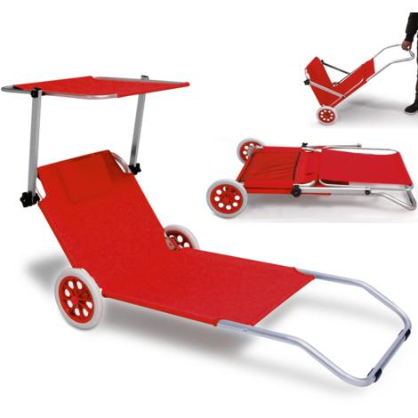 Chaise longue pliable - Bain de soleil roulant - aluminium - pare soleil - Rouge