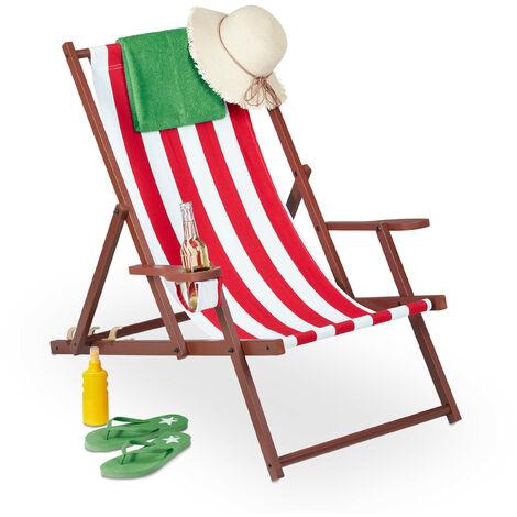 Chaise longue pliable, bois et tissu, bain de soleil, 3 positions, accoudoirs, transat, 120 kg, blanc/rouge