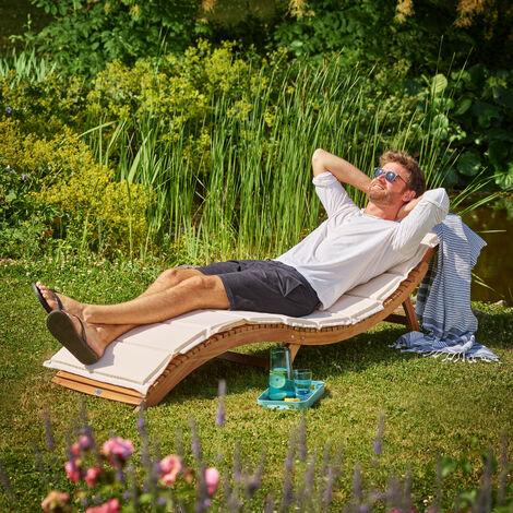 Chaise longue pliable en bois d'acacia avec appuie-tête réglable Bain de soleil jardin extérieur