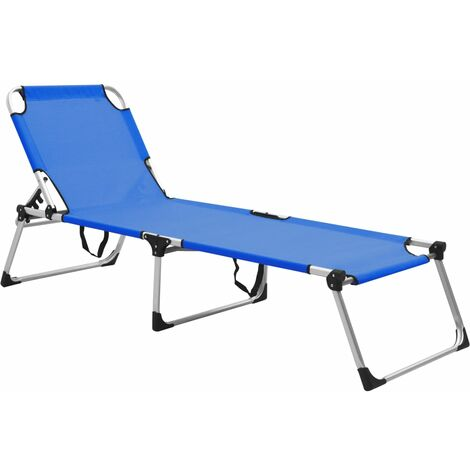 Chaise longue pliable extra haute pour seniors Bleu Aluminium