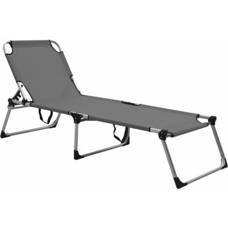 Chaise longue pliable extra haute pour seniors Gris Aluminium