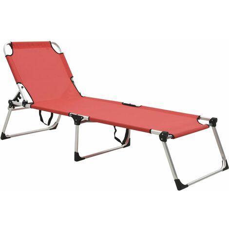 Chaise longue pliable extra haute pour seniors Rouge Aluminium