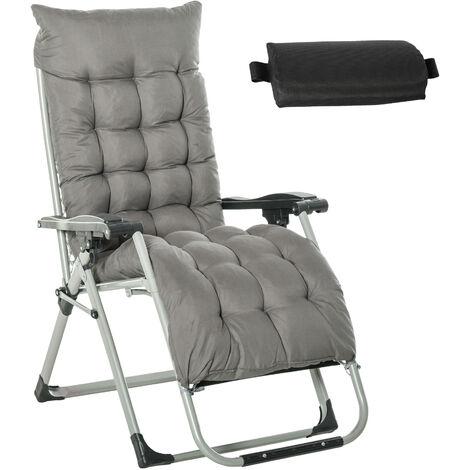 Chaise longue pliable inclinable grand confort avec matelas, tétière, accoudoirs métal époxy polyester gris