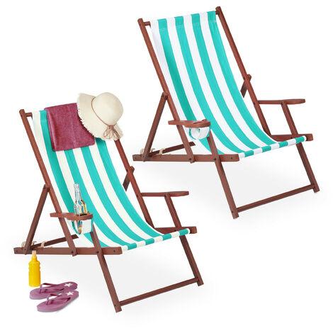 Chaise longue pliable, lot 2, bois, tissu, 3 positions, accoudoirs, transat, rayées, blanc-bleu