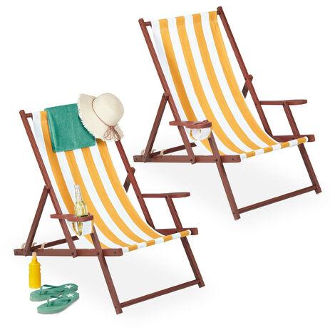 Chaise longue pliable, lot 2, bois, tissu, 3 positions, accoudoirs, transat, rayées, blanc-jaune