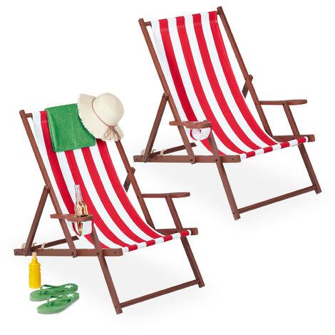 Chaise longue pliable, lot 2, bois, tissu, 3 positions, accoudoirs, transat, rayées, blanc-rouge