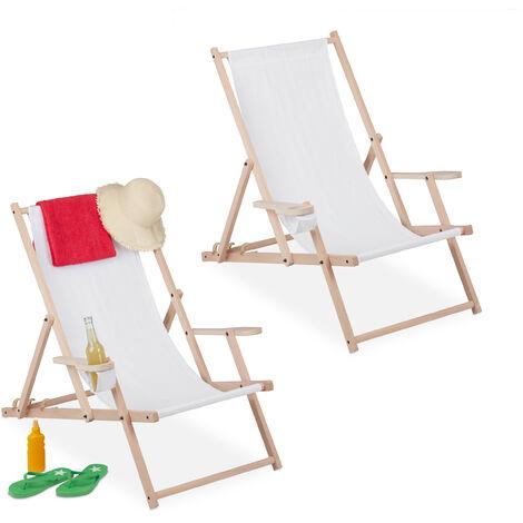 Chaise longue pliable, lot de 2, bois et tissu, 3 positions, accoudoirs, porte-boissons, transat, blanc