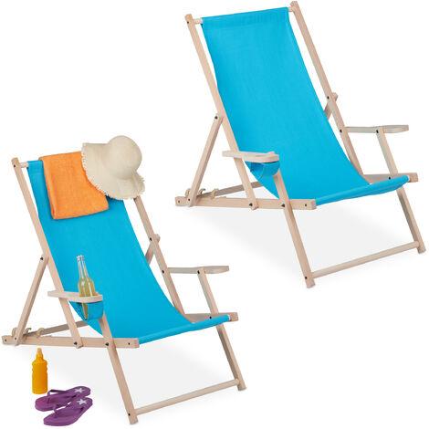 Chaise longue pliable, lot de 2, bois et tissu, 3 positions, accoudoirs, porte-boissons, transat, bleu clair
