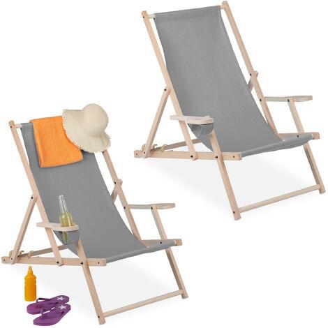 Chaise longue pliable, lot de 2, bois et tissu, 3 positions, accoudoirs, porte-boissons, transat, gris