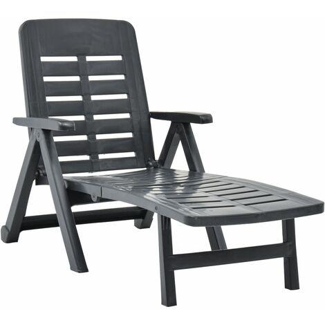 Chaise longue pliable Plastique Anthracite