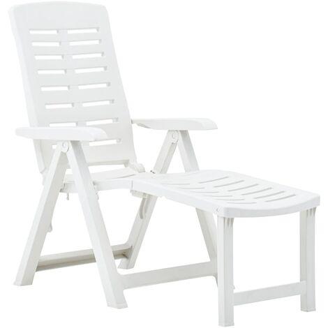 Chaise longue pliable Plastique Blanc