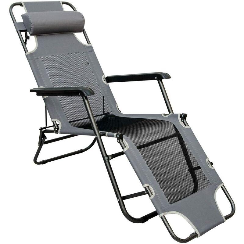 Chaise Longue Pliable pour camping et jardin | Transat Inclinable avec repose-tête | Structure en acier | Poids max supporté 100 kg | 178cm | Gris