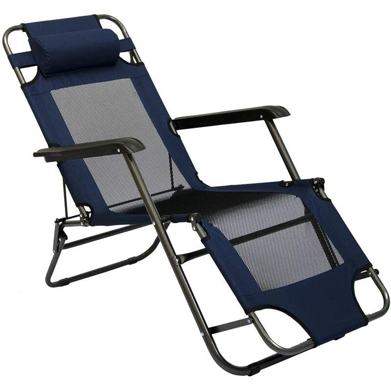 Chaise Longue Pliable pour camping et jardin | Transat Inclinables avec repose-tête | couleur bleu foncé | Structure en acier | Poids max. supporté
