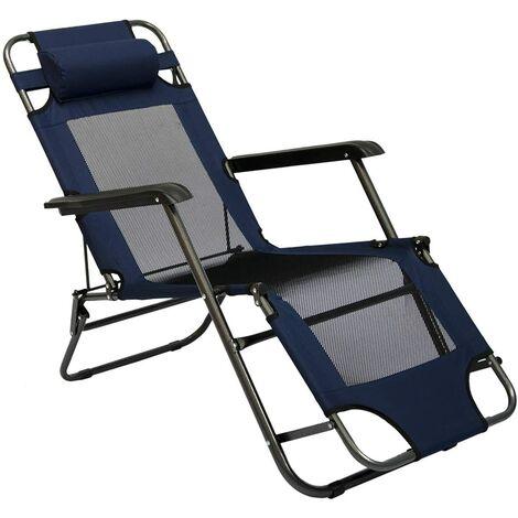 Chaise Longue Pliable pour camping et jardin | Transat Inclinables avec repose-tête | couleur bleu foncé | Structure en acier | Poids max. supporté 100 kg | 153cm