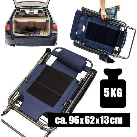 Chaise Longue Pliable pour camping et jardin | Transat Inclinables avec repose-tête | couleur bleu foncé | Structure en acier | Poids max. supporté 100 kg | 178cm