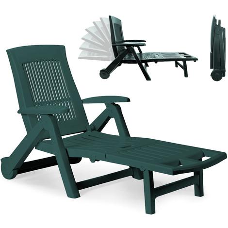 Chaise Longue Pliable PVC Vert Dossier Reglable