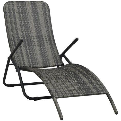 Chaise longue pliable Résine tressée Gris