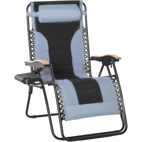Chaise longue pliable zéro gravité dossier réglable tablette tétière métal époxy polyester coton gris noir