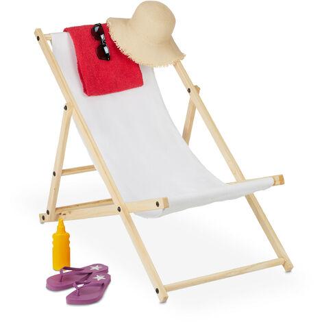 Chaise longue, pliante, bois et tissu, transat pliable pour balcon, jardin, plage, 3 positions, blanc