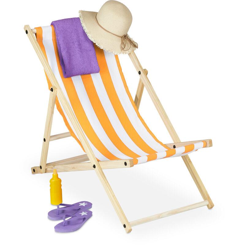 Chaise longue, pliante, bois, transat pliable coloré pour balcon, jardin, plage, 83x58x94 cm, blanc-jaune