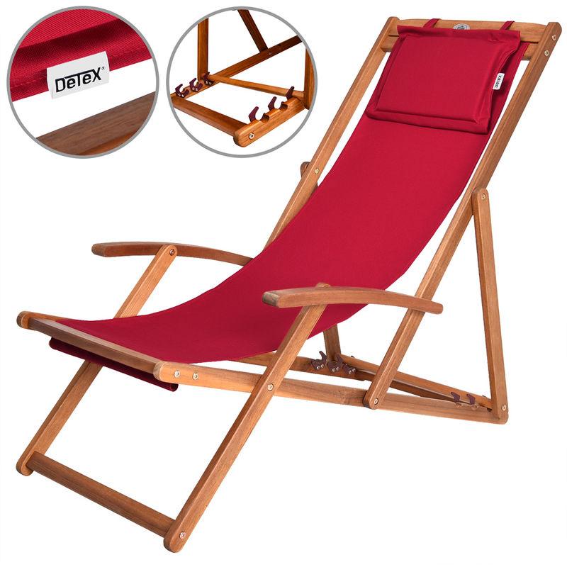 Chaise longue pliante en bois tissu assise Rouge jardin terrasse piscine