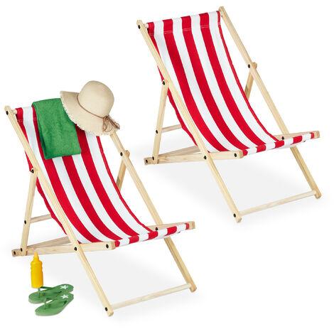 Chaise longue, pliante, lot de 2, bois, 3 niveaux, transat coloré pour balcon et jardin, 120 kg, blanc-rouge
