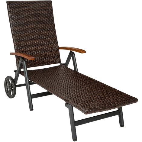 Chaise Longue Pliante Réglable en Aluminium et Résine Tressée 194 cm x 77 cm x 64 cm Marron