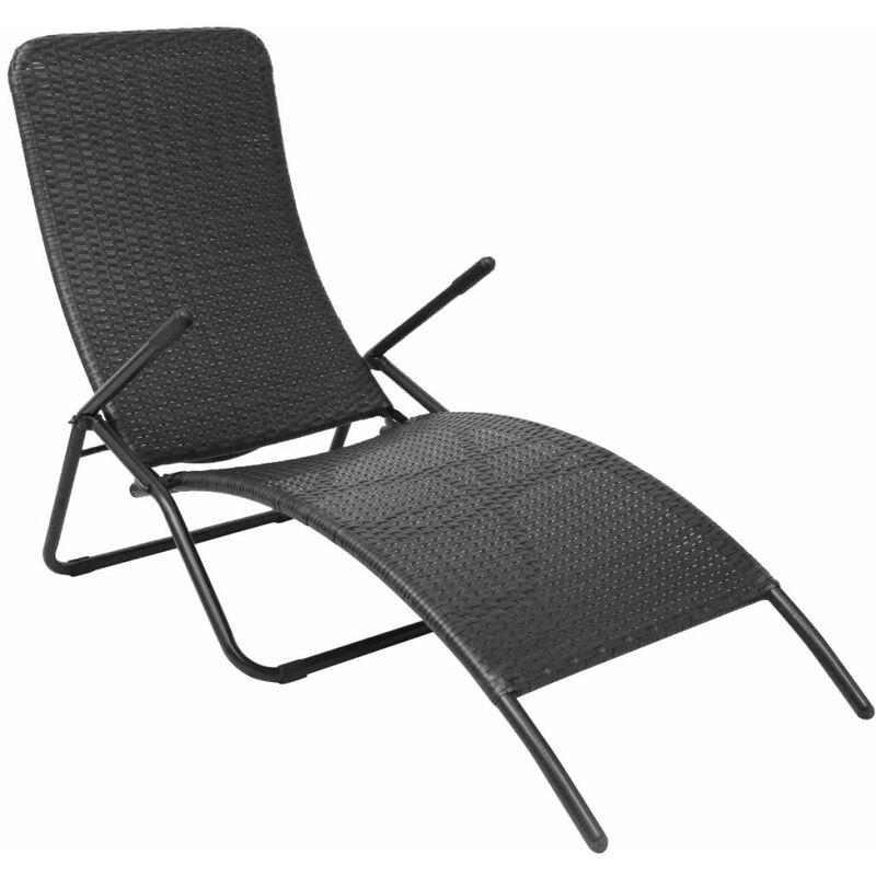 Chaise longue pliante Rotin synthétique Noir