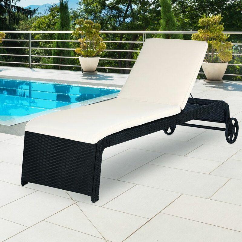 Chaise longue polyrotin 200 × 60 × 40 cm 5 différentes positions coussin 2 roues bain de soleil jardin balcon terrasse relax repose-tête réglable
