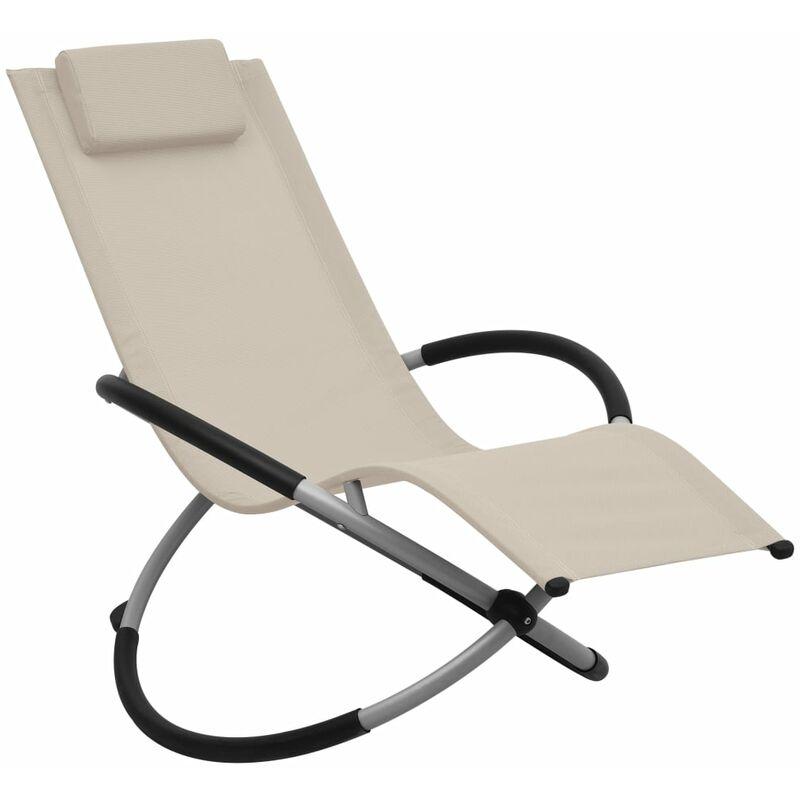 Chaise longue pour enfants Acier Crème