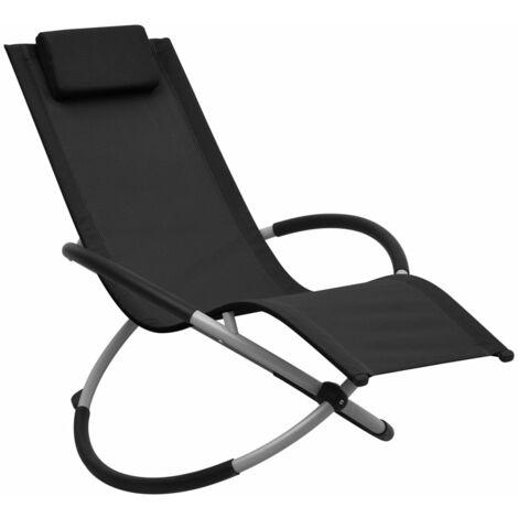 Chaise longue pour enfants Acier Noir