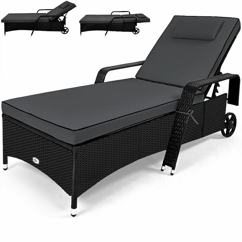 Chaise longue pour jardin, coussin 7cm Lit de bain polyrotin transat Anthracite