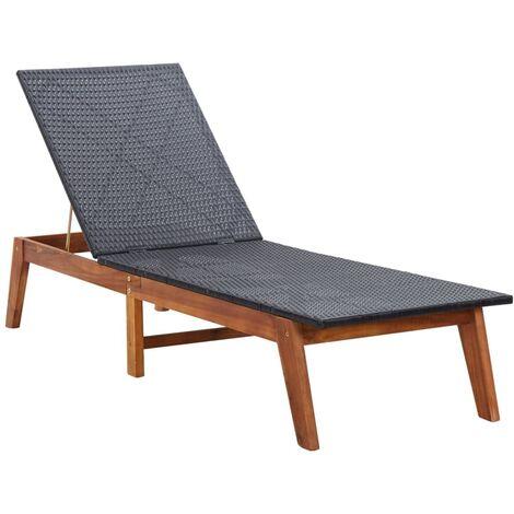 Chaise longue Résine tressée et bois d'acacia massif