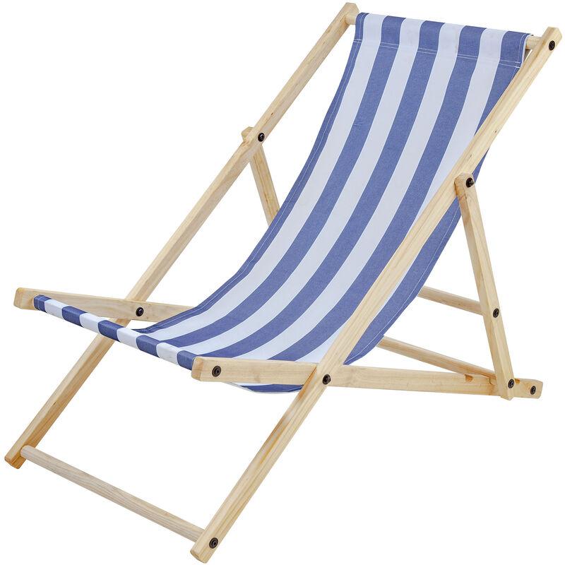 Chaise Longue SUN,bleu-blanc