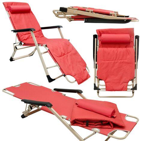 Chaise Longue Transat 178cm pliant incl appuie-tête et coussin amovibles Rouge