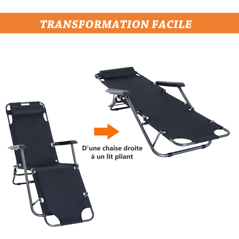 2 Chaise En 1 Inclinable Pliant Multiposition Longue Transat Noir gyf7I6Yvb