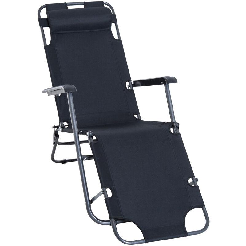 Chaise longue pliable bain de soleil transat de relaxation dossier inclinable avec repose-pied polyester oxford noir