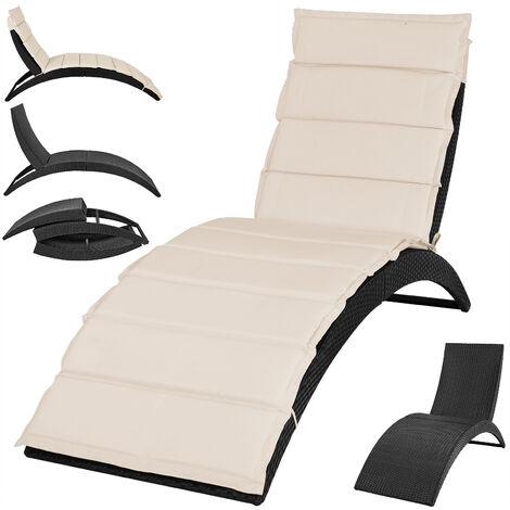 Chaise longue transat 200cm pliable avec coussin Detex®Coussin forme ergonomique