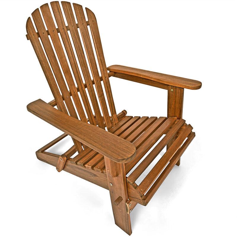 Deuba - Chaise longue transat Adirondack en bois d'acacia Bain de soleil Siège de jardin pliable Extérieur balcon terrasse